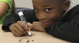 Boy student doing math picture