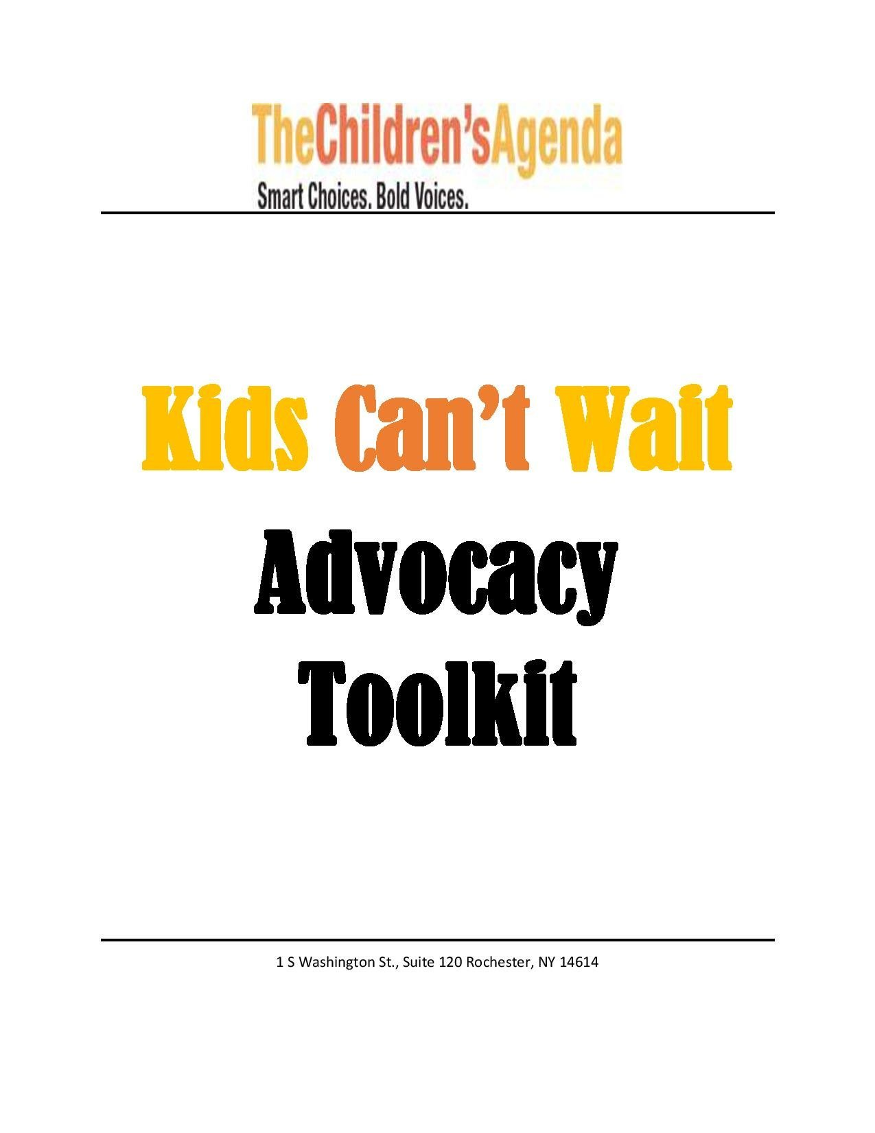 Kids Can't Wait Advocacy Toolkit