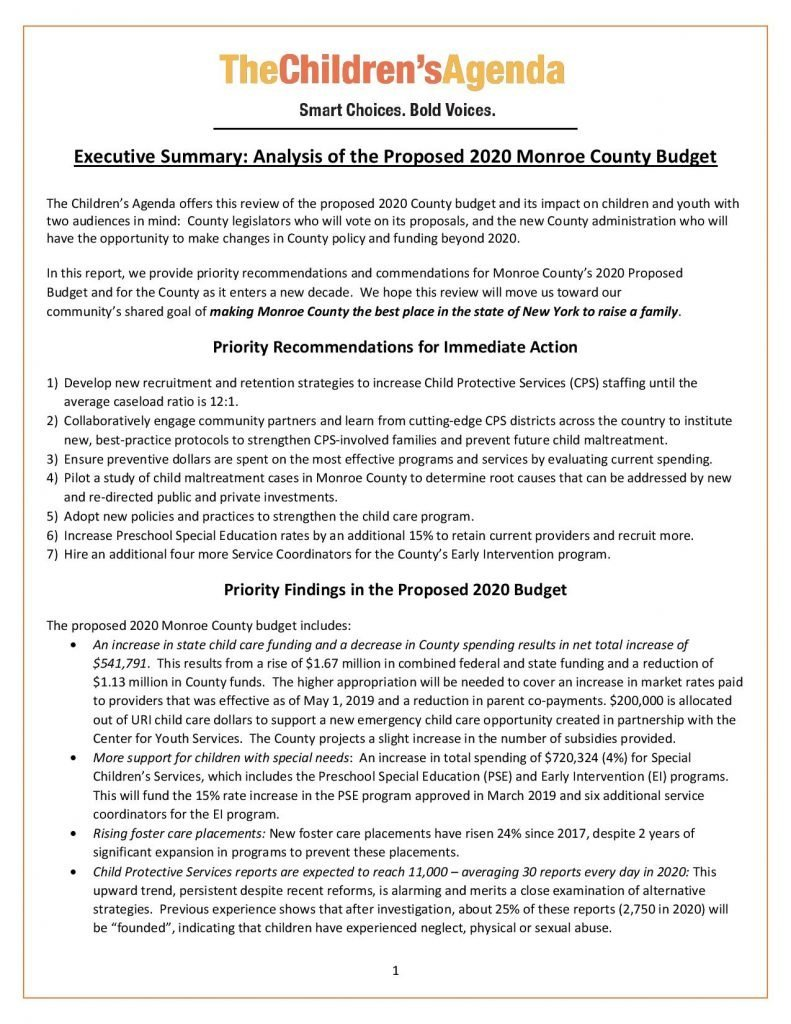 County 2020 Budget Executive Summary Cover Page