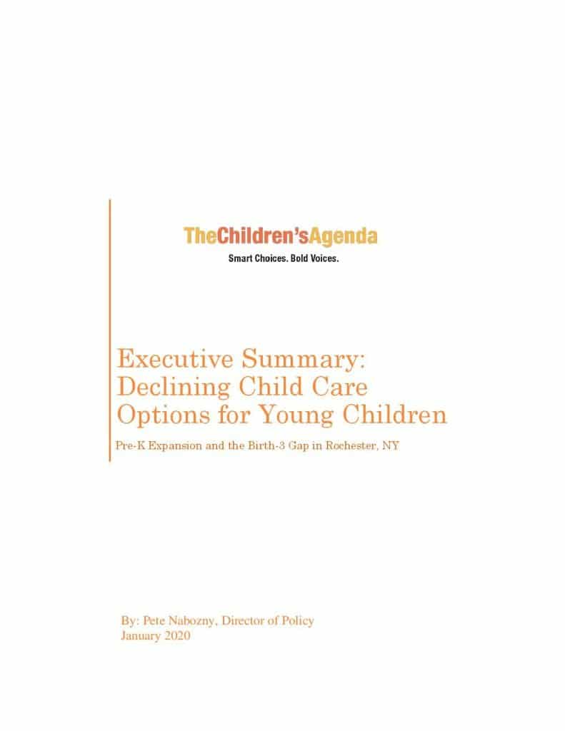 Child Care Report Executive Summary Cover