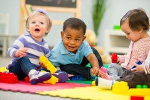 Children on mat playing