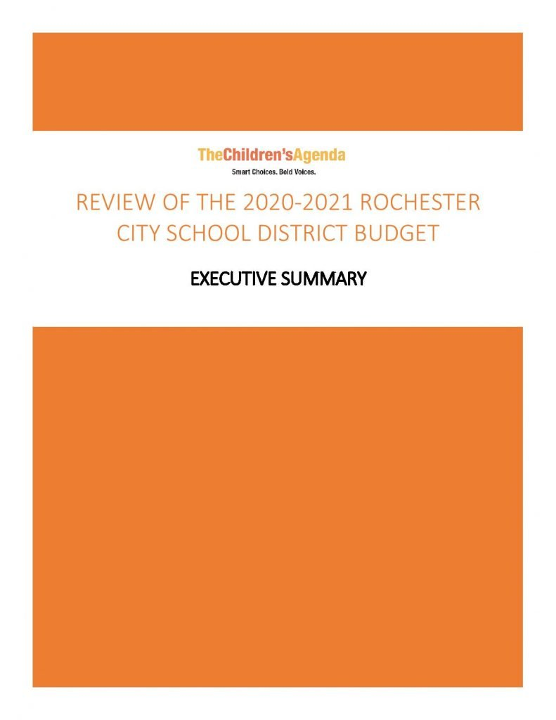 THE CHILDREN'S AGENDA RELEASES RCSD BUDGET ANALYSIS