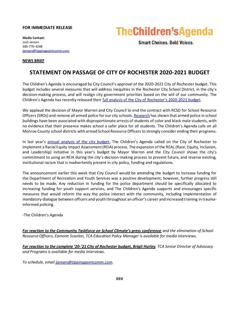 Statement on passage of City of Rochester 2020-2021 budget